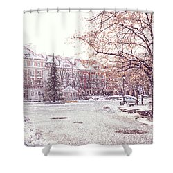 Shower Curtain featuring the photograph A Street In Warsaw, Poland On A Snowy Day by Juli Scalzi