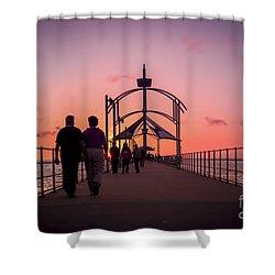 A Stroll Along Sunset Pier Shower Curtain