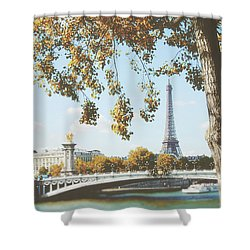 Shower Curtain featuring the photograph A Stroll Along The River Seine In Paris by Ivy Ho