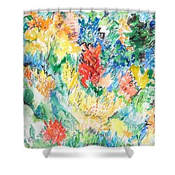 A Summer Garden Frolic Shower Curtain by Esther Newman-Cohen