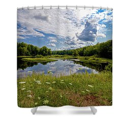 Shower Curtain featuring the photograph A Summer Morning At The Bridge by David Patterson