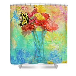 A Summer Time Bouquet Shower Curtain by Diane Schuster