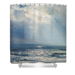 A Sunbeam Over The Sea Shower Curtain by Henry Moore