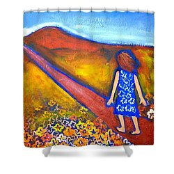 Shower Curtain featuring the painting A Sunny Path by Winsome Gunning