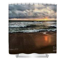 A Sunrise Over Kitty Hawk Shower Curtain by Linda Mesibov