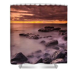 A Sunset At Track Beach Shower Curtain
