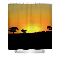 A Sunset In Namibia Shower Curtain by Ernie Echols
