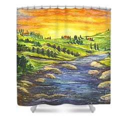 Shower Curtain featuring the painting A Sunset In Wine Country by Carol Wisniewski