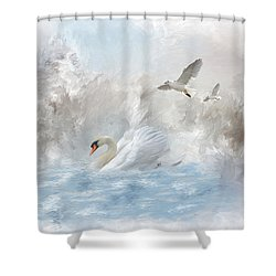 A Swan's Dream Shower Curtain by Mary Timman