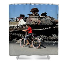 A Syrian Boy On His Bicycle In Front Shower Curtain by Andrew Chittock