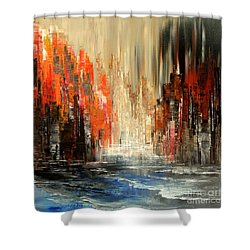Shower Curtain featuring the painting A Tale Of Two Cities by Tatiana Iliina