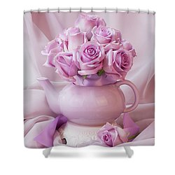 A Tea Pot Of Lavender Pink Roses  Shower Curtain
