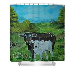 Shower Curtain featuring the painting A Tender Love by Leslie Allen