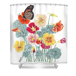 A Tethered Butterfly Shower Curtain by Stanza Widen