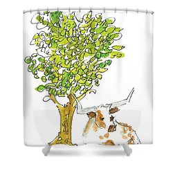 A Texas Welcome Texas Longhorn Under A Live Oak Tree Watercolor Painting By Kmcelwaine Shower Curtain