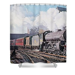 A 'thompson' B1 Class Moving Empty Stock On A Cold February Morning Shower Curtain by David Nolan