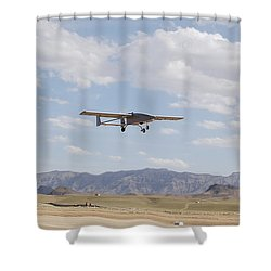 A Tiger Shark Unmanned Aerial Vehicle Shower Curtain by Stocktrek Images