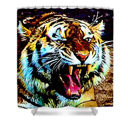 Shower Curtain featuring the digital art A Tiger's Roar by Zedi