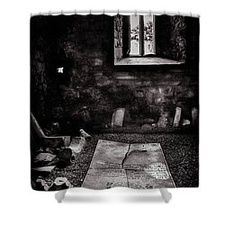 Shower Curtain featuring the photograph A Tombstone In Sligo Abbey Bw by RicardMN Photography