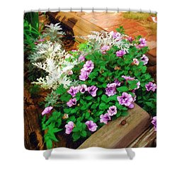 Shower Curtain featuring the painting A Touch Of Nature by Sandy MacGowan