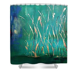 A Touch Of Teal Shower Curtain by Frances Marino