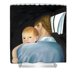 Shower Curtain featuring the painting Comforting A Tradition Of Nursing by Marlyn Boyd