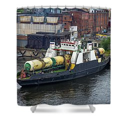 Shower Curtain featuring the photograph A Train Ferry In St Petersburg Carrying Freight by Clare Bambers
