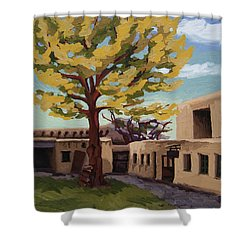 Shower Curtain featuring the painting A Tree Grows In The Courtyard, Palace Of The Governors, Santa Fe, Nm by Erin Fickert-Rowland