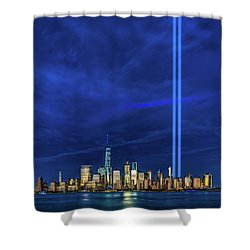 Shower Curtain featuring the photograph A Tribute At Dusk by Chris Lord