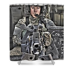 A Uh-60 Black Hawk Door Gunner Manning Shower Curtain by Terry Moore