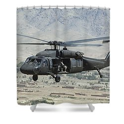 Shower Curtain featuring the photograph A Uh-60 Blackhawk Helicopter by Stocktrek Images