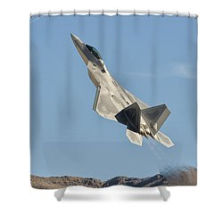 A U.s. Air Force F-22 Raptor Takes Shower Curtain by Giovanni Colla