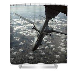 A U.s. Air Force Kc-10 Refuels A B-1b Shower Curtain by Stocktrek Images