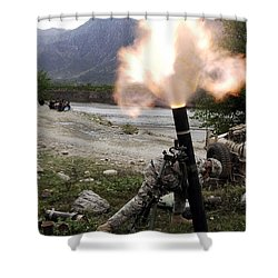 A U.s. Army Soldier Ducking Away Shower Curtain by Stocktrek Images