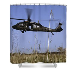A U.s. Army Uh-60 Black Hawk Helicopter Shower Curtain by Stocktrek Images