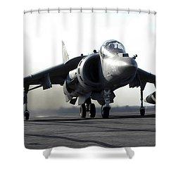 A U.s. Marine Corps Av-8b Harrier Shower Curtain by Stocktrek Images