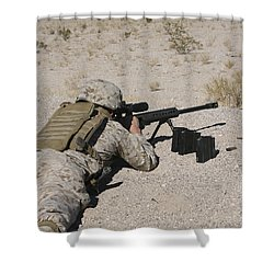 A U.s. Marine Zeros His M107 Sniper Shower Curtain by Stocktrek Images