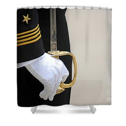 Shower Curtain featuring the photograph A U.s. Naval Academy Midshipman Stands by Stocktrek Images