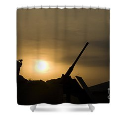 A Us Soldier Mans His .50 Caliber While Shower Curtain by Terry Moore