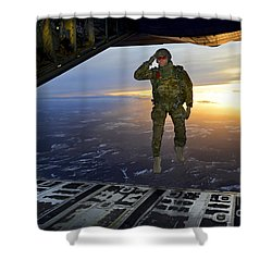 Shower Curtain featuring the photograph A U.s. Soldier Salutes His Fellow by Stocktrek Images