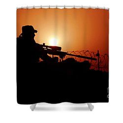 A U.s. Special Forces Soldier Armed Shower Curtain by Stocktrek Images