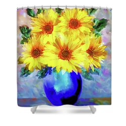 A Vase Of Sunflowers Shower Curtain