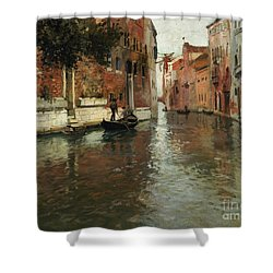 A Venetian Backwater  Shower Curtain by Fritz Thaulow