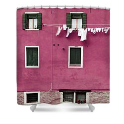 A Venetian View In Deep Pink With Laundry Shower Curtain by Brooke T Ryan