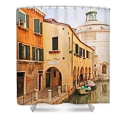A Venetian View - Sotoportego De Le Colonete - Italy Shower Curtain by Brooke T Ryan