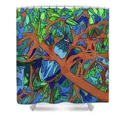 Shower Curtain featuring the painting A Very Pretty Peacock In A Pear Tree by Denise Weaver Ross