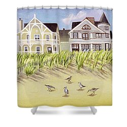 A View Along Ocean Grove Beach Shower Curtain