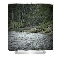 A View Downstream Shower Curtain by Donald C Morgan