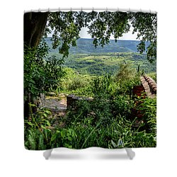 A View From Groznjan Of The Istrian Hill Town Countryside, Istria, Croatia Shower Curtain