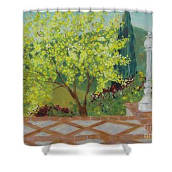 Shower Curtain featuring the painting A View From Hearst Castle by Maria Langgle